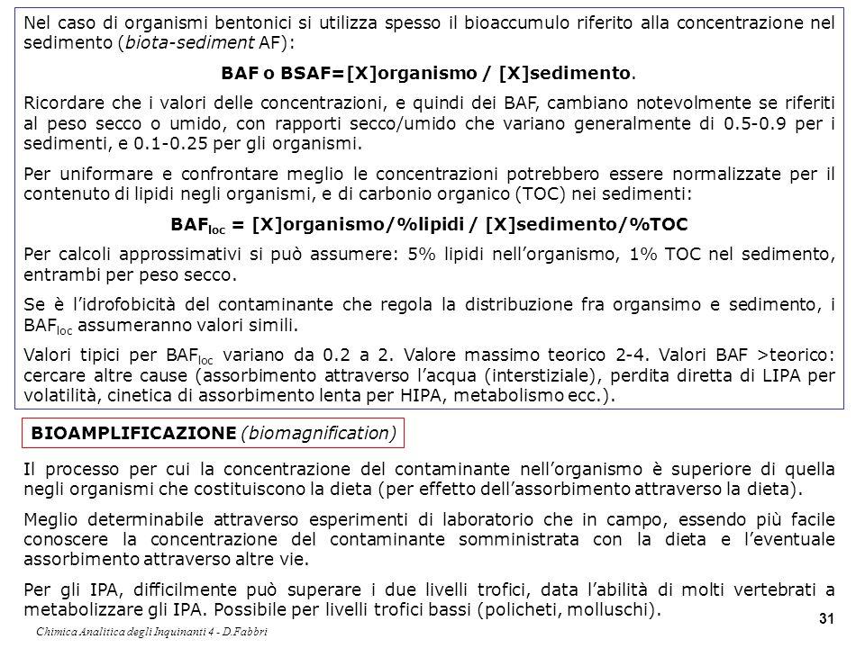 BAFloc = [X]organismo/%lipidi / [X]sedimento/%TOC